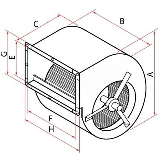 Dimensions en mm – A≃450 – B≃340 – C≃440 – E≃280 – F≃325 – G≃330 – H≃380 - Moteur de hotte