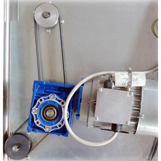 Détail Poulies et Courroies bandes rainurées et Motoreducteur démultiplicateur de couple en bleu façonneuse pizza DSA420 JILO42