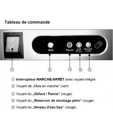 Détail tableau de commande machine à glaçons pro 26kg/24h