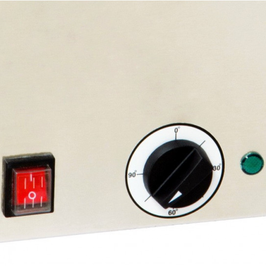 Détail interrupteur et bouton température de 0° à 90°C bain-Marie GN1/1 puissance 1,2Kw - CBM1 Casselin